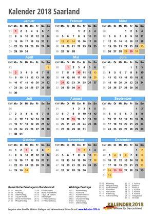Kalender 2018 Saarland Hochformat