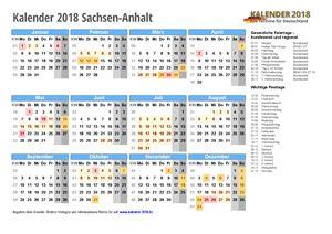 Kalender 2018 Sachsen-Anhalt Schulferien