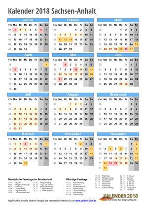 Kalender 2018 Sachsen-Anhalt Hochformat mit Schulferien