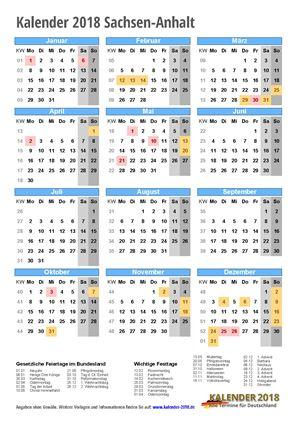 Kalender 2018 Sachsen-Anhalt Hochformat