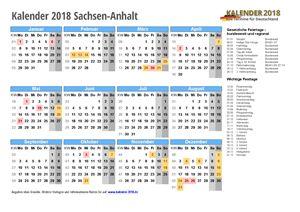 Kalender 2018 Sachsen-Anhalt