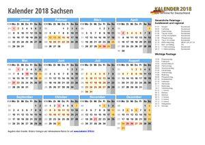 Kalender 2018 Sachsen Schulferien