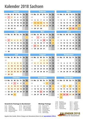 Kalender 2018 Sachsen Hochformat mit Schulferien