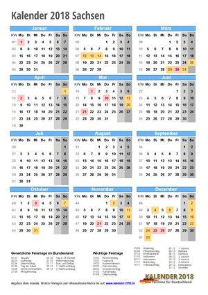 Kalender 2018 Sachsen Hochformat