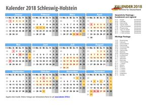 Kalender 2018 Schleswig-Holstein Schulferien