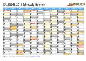 Kalender 2018 Schleswig-Holstein Monate mit Schulferien