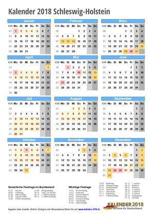 Kalender 2018 Schleswig-Holstein Hochformat mit Schulferien