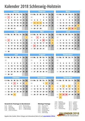 Kalender 2018 Schleswig-Holstein Hochformat