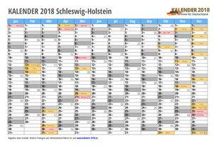 Kalender 2018 Schleswig-Holstein Monate