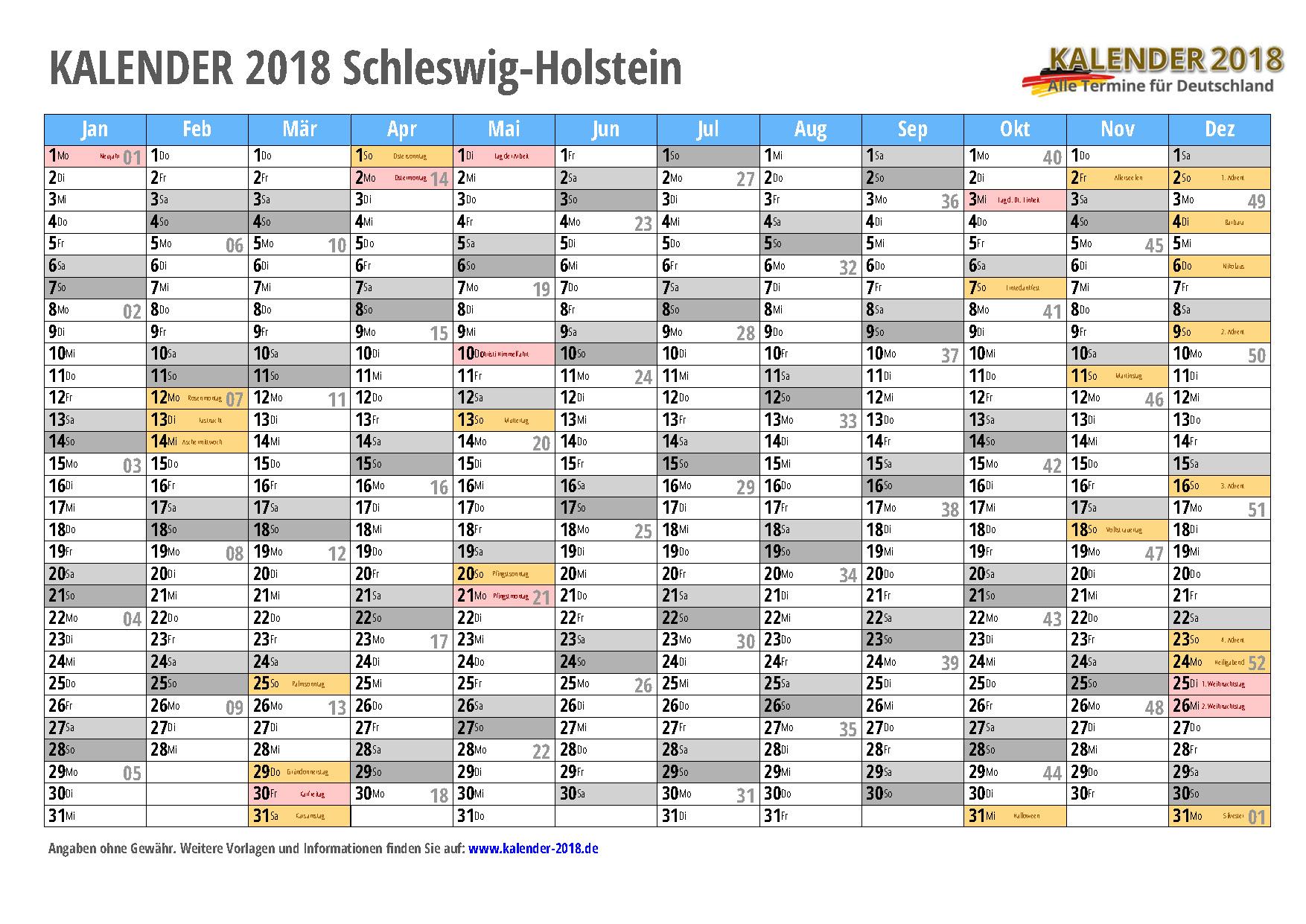 Kalender 2018 Schleswig Holstein Zum Ausdrucken Kalender 2018