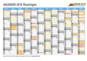 Kalender 2018 Thueringen Monate mit Schulferien