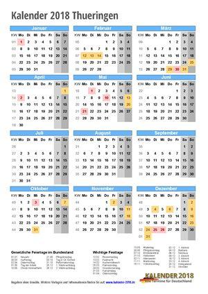 Kalender 2018 Thueringen Hochformat