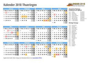 Kalender 2018 Thueringen
