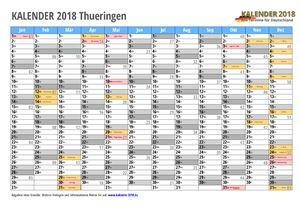 Kalender 2018 Thueringen Monate