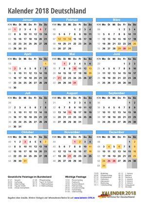 Kalender 2018 Deutschland Hochformat