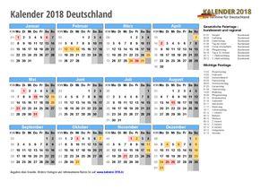 Kalender 2018 Deutschland