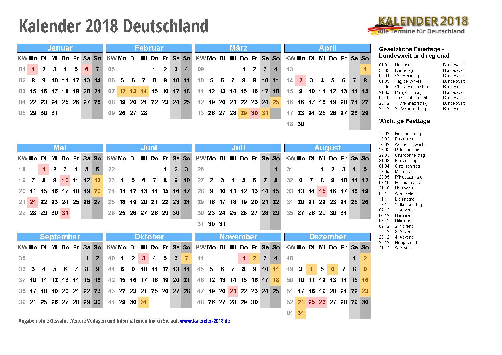 KALENDER 2018 mit Feiertagen - Ferien - Kalenderwochen